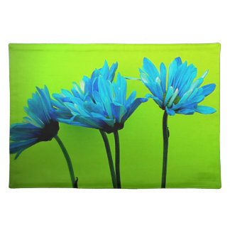 Teal Turquoise Daisies on Lime Green Flowers Gifts Cloth Placemat