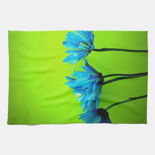 Turquoise Kitchen Towels: Teal Turquoise Daisies On Lime Green Flowers Gifts Hand