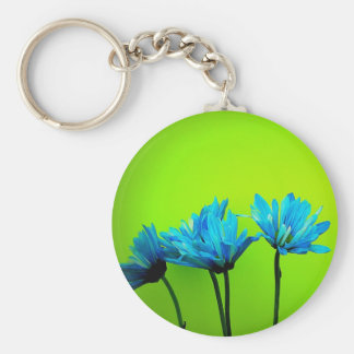 Teal Turquoise Daisies on Lime Green Flowers Gifts Keychain