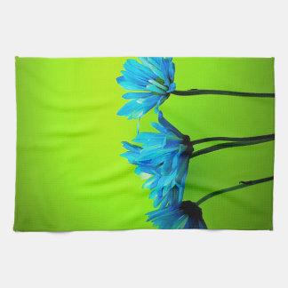 Teal Turquoise Daisies on Lime Green Flowers Gifts Kitchen Towels