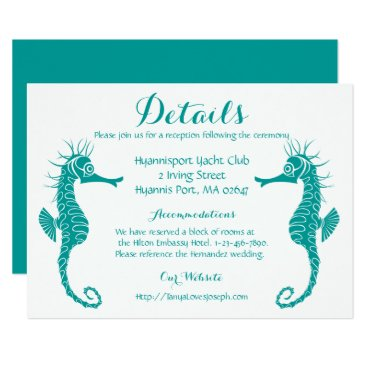 Beach Themed Teal Turquoise Details Seahorse Beach Wedding Card