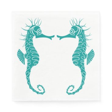 Beach Themed Teal Turquoise Details Seahorse Beach Wedding Napkin