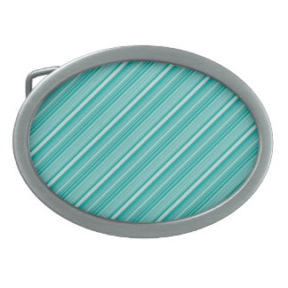 Teal Turquoise Diagonal Striped Pattern Gifts Oval Belt Buckles