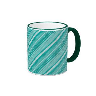 Teal Turquoise Diagonal Striped Pattern Gifts Mugs