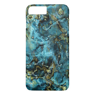 Teal Turquoise Faux Gold Minerals Agate Pattern iPhone 7 Plus Case
