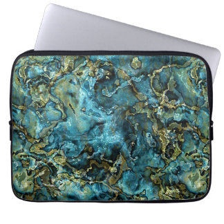 Teal Turquoise Faux Gold Minerals Agate Pattern Laptop Sleeve