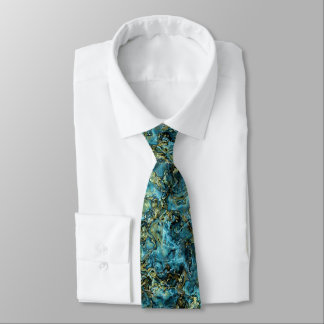 Teal Turquoise Faux Gold Minerals Agate Pattern Tie