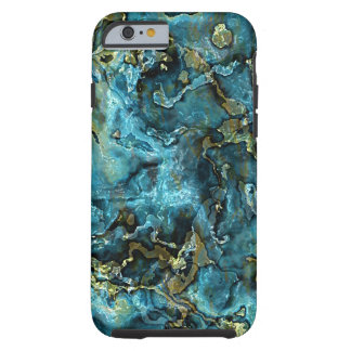 Teal Turquoise Faux Gold Minerals Agate Pattern Tough iPhone 6 Case
