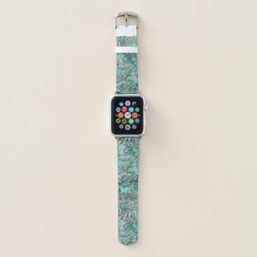 Teal Turquoise Faux Silver Minerals Agate Pattern Apple Watch Band