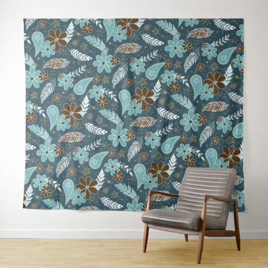 teal turquoise feathers doodle flowers boho tapestry