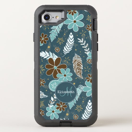 teal turquoise feathery flowery boho pattern OtterBox defender iPhone SE/8/7 case