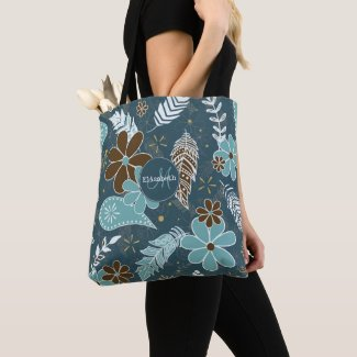 teal turquoise feathery flowery boho pattern tote bag