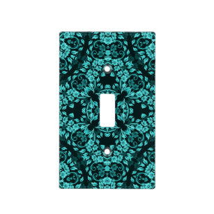 Teal Turquoise Fl Mandala Light Switch Cover