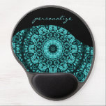 "Teal Turquoise Floral Mandala Personalize Gel Mouse Pad<br><div class=""desc"">teal turquoise floral mandala elegant digital artistic unique stylish trendy modern text name personalize</div>"