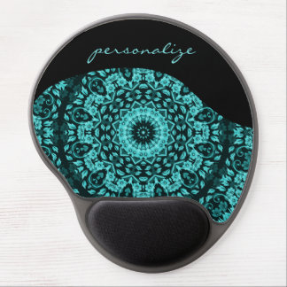 Teal Turquoise Floral Mandala Personalize Gel Mouse Pad