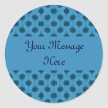 Teal Turquoise Floral Pattern Stickers