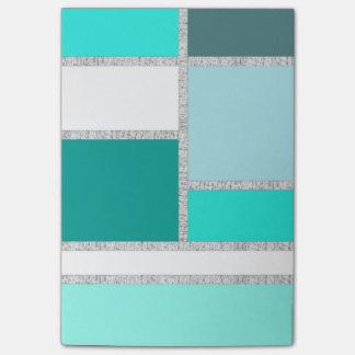 Teal & Turquoise Geometric Blocks Post-it® Notes