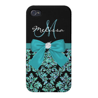 Teal turquoise glitter Black Damask, Bow, Monogram Cover For iPhone 4