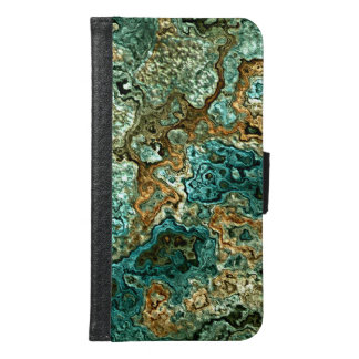 Teal Turquoise Gold Brown Minerals Marble Pattern Wallet Phone Case For Samsung Galaxy S6