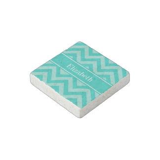 Teal Turquoise LG Chevron Teal Name Monogram Stone Magnet