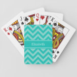 "Teal Turquoise LG Chevron Teal Name Monogram Playing Cards<br><div class=""desc"">Teal and Turquoise Aqua Large Chevron Zig Zag Pattern, Teal Ribbon Name Monogram Label Customize this with your name, monogram or other text. You can also change fonts, adjust font sizes and font colors, move the text, add text fields, etc. Please note that this is a digitally created graphic design...</div>"