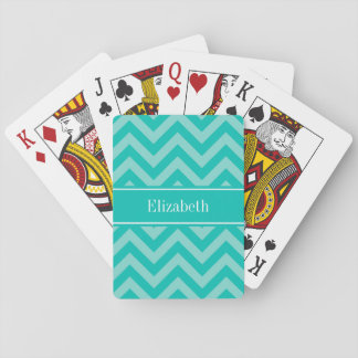Teal Turquoise LG Chevron Teal Name Monogram Playing Cards