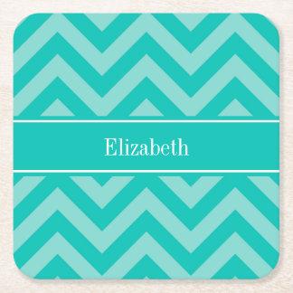 Teal Turquoise LG Chevron Teal Name Monogram Square Paper Coaster