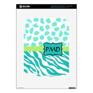 Teal Turquoise, Lime Green Zebra & Cheetah Skin iPad 3 Decals