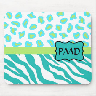 Teal Turquoise, Lime Green Zebra & Cheetah Skin Mouse Pad