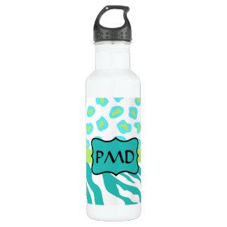 Teal Turquoise, Lime Green Zebra & Cheetah Skin 24oz Water Bottle