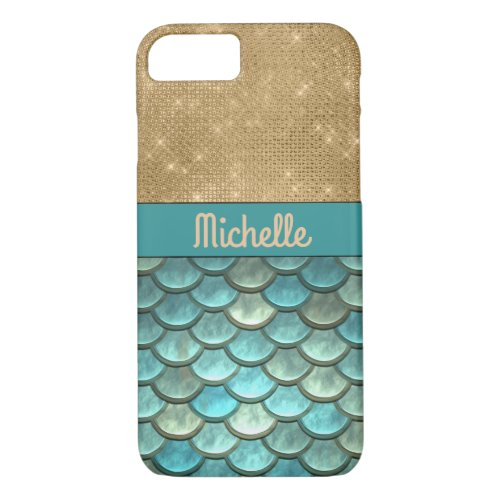 Teal Turquoise Mermaid Scales   Gold Glitter, Name Phone Case