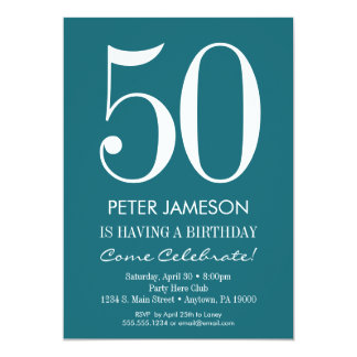 Teal Turquoise Modern Adult Birthday Invitations