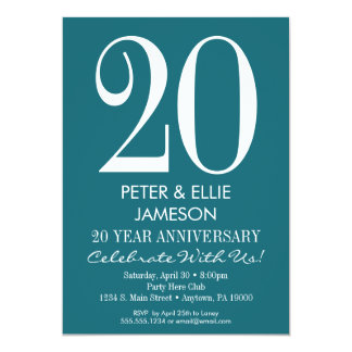 Teal Turquoise Modern Anniversary Invitations