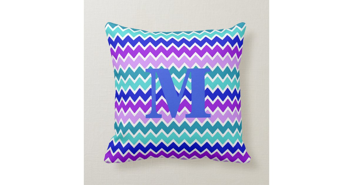 Blue And Lavender Throw Pillows : Teal Turquoise Navy Blue Lavender Purple Chevron Throw Pillows Zazzle