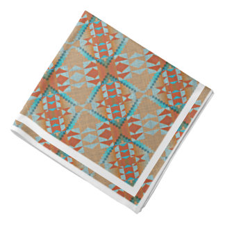 Teal Turquoise Orange Brown Eclectic Ethnic Look Bandana