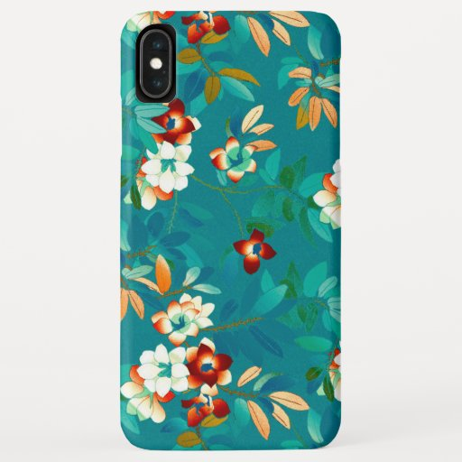 Teal Turquoise & Orange Floral Pattern iPhone XS Max Case