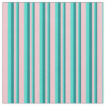 [ Thumbnail: Teal, Turquoise & Pink Stripes/Lines Pattern Fabric ]