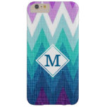 Teal Turquoise Purple Chevron Custom Monogram Barely There iPhone 6 Plus Case