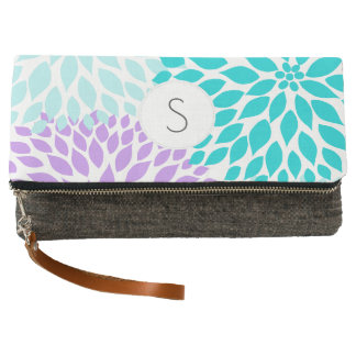 Teal Turquoise Purple floral pattern monogram Clutch