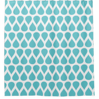 Teal Turquoise Rain Drops Dots Patterns Shower Curtain