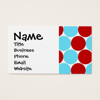 Teal Turquoise Red Big Polka Dots Pattern Gifts Business Card