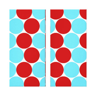 Teal Turquoise Red Big Polka Dots Pattern Gifts Stretched Canvas Print