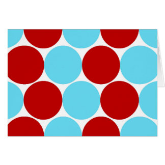 Teal Turquoise Red Big Polka Dots Pattern Gifts Card