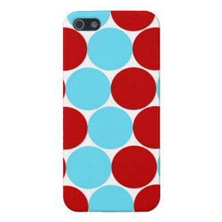 Teal Turquoise Red Big Polka Dots Pattern Gifts Case For iPhone SE/5/5s