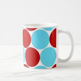 Teal Turquoise Red Big Polka Dots Pattern Gifts Coffee Mug