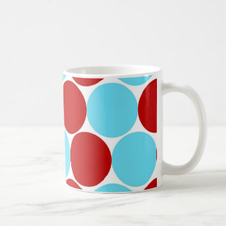 Teal Turquoise Red Big Polka Dots Pattern Gifts Coffee Mug