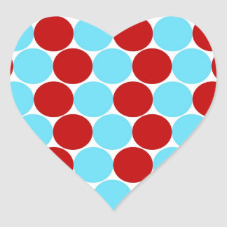 Teal Turquoise Red Big Polka Dots Pattern Gifts Heart Sticker