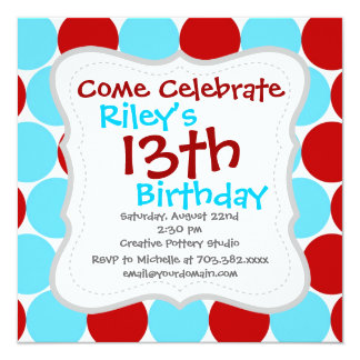 Teal Turquoise Red Big Polka Dots Pattern Gifts 5.25x5.25 Square Paper Invitation Card