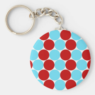 Teal Turquoise Red Big Polka Dots Pattern Gifts Basic Round Button Keychain
