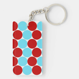 Teal Turquoise Red Big Polka Dots Pattern Gifts Double-Sided Rectangular Acrylic Keychain